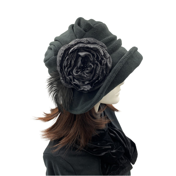 Alice wide front brim black fleece cloche with large  flower detail with Ostrich feather