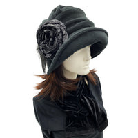 Alice wide front brim black fleece cloche with large  flower detail with Ostrich feather Downton Abbey style