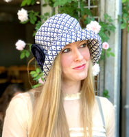 Art Deco Print Cloche Hat in Navy and Beige | The Eleanor
