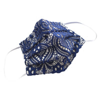 Womens Reusable face mask in blue lace handmade