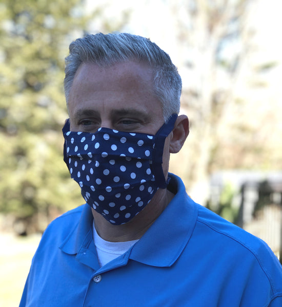Polka dot face mask with ties Blue