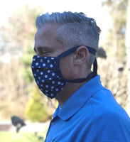 Polka dot face mask with ties side view