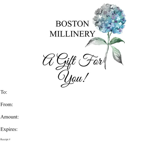Gift Card | Choose Your Value | Boston Millinery
