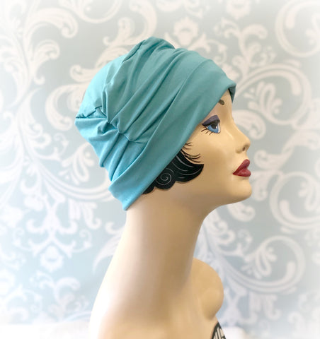 ocean blue chemo cloche bamboo jersey