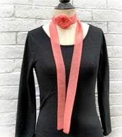 Coral chiffon skinny neck scarf with rose