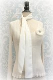 Chiffon Neck Scarf with Flower Brooch