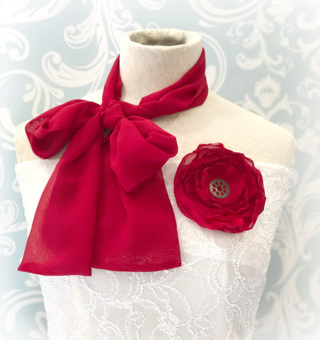 Womens red chiffon pussy cat bow scarf with rose brooch