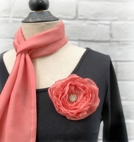 Living Coral Chiffon Scarf and Rose Brooch