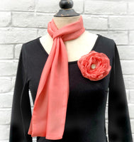 Chiffon Scarf and Removable Rose in Living Coral | Boston Millinery