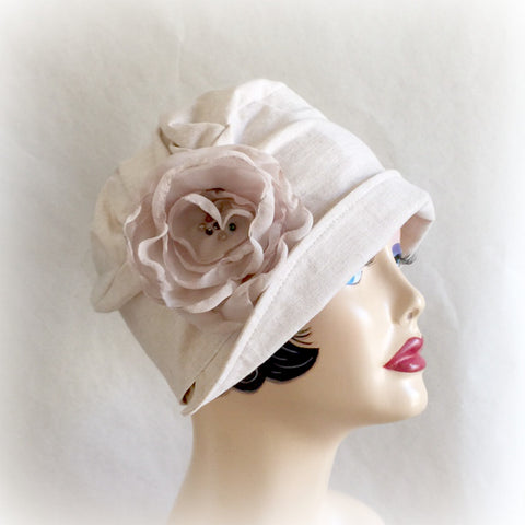 Linen Cap with Chiffon Rose | The Chloe Cloche