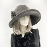 Wide Brim Fleece Hat with Flower Accessory | The Derby