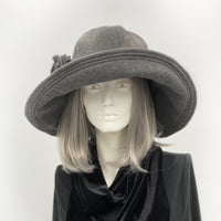 gray fleece cloche hat with wide brim Derby edwardian