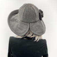 Wide brim fleece hat in gray rear view open brim