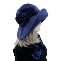 Navy fleece derby hat side view Edwardian cloche
