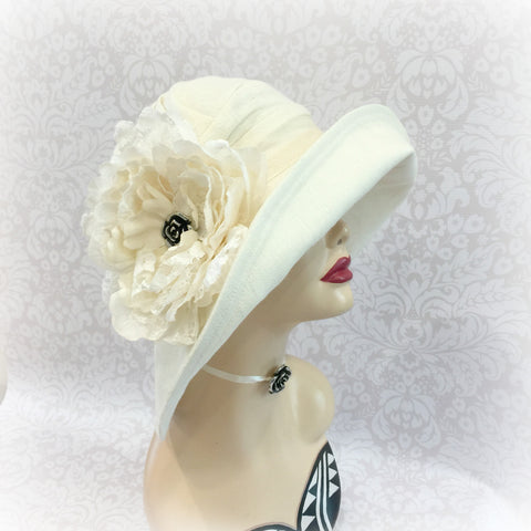 Cream Linen Derby Hat - Large Brim Cloche - Weddings - Special Occasion