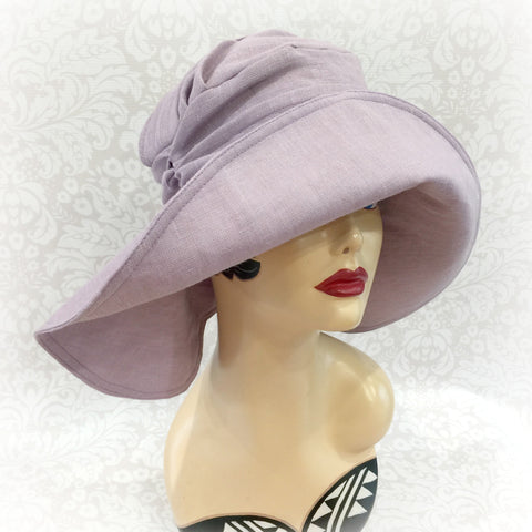 Wide Brim Linen Derby Hat - Detailed Rear Brim