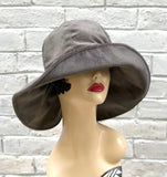 floppy brim gray velour velvet cloche front view