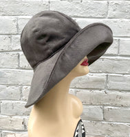 floppy brim gray velour velvet cloche side view