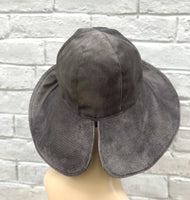 floppy brim gray velour velvet cloche rear view
