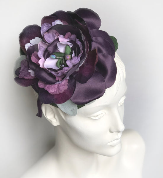 Womens Fascinator Hat in Purple Floral | Weddings and Special Occasions