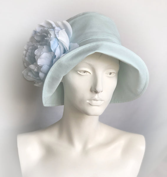 Ice Blue Linen Cloche Hat with Oversized Flower | The Eleanor