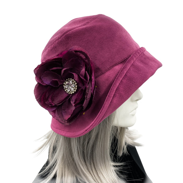 Vintage Style Cloche Hat in Raspberry Velvet | The Eleanor