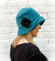 teal velour velvet cloche hat women side view