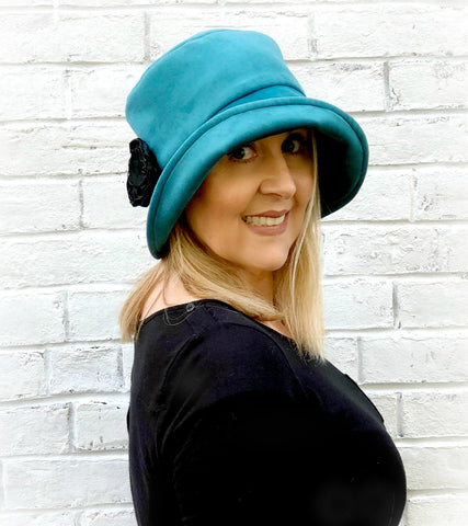 teal velour velvet cloche handmade in the usa