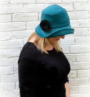 teal velour velvet cloche