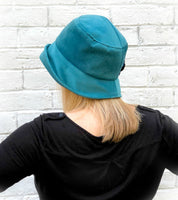 teal velour velvet cloche rear view