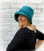 teal velour velvet cloche side view