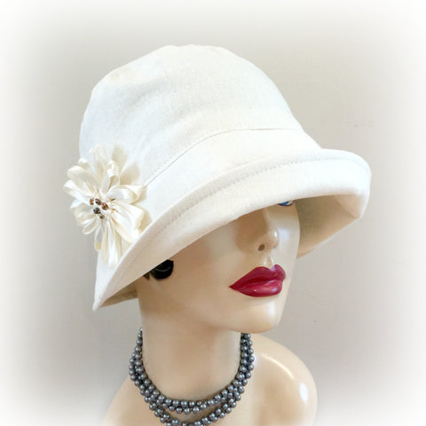 Summer Linen Women's 20's Style Narrow Brim Hat | The Eleanor