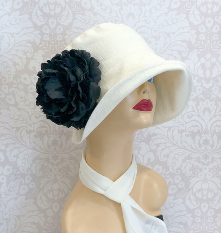 Linen Cloche Hat Downton Abbey style