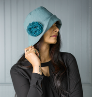 Women's Linen Hat with Chiffon Rose - The Eleanor Cloche