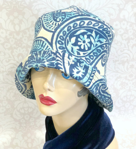 Rainy Day Hat in Blue Paisley | The Eleanor Cloche