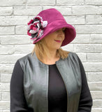 Raspberry Velour Velvet Cloche Hat with large Flower | The Eleanor