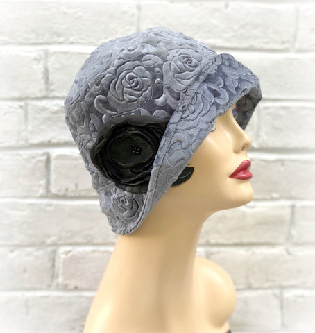Embossed gray velvet Womens cloche