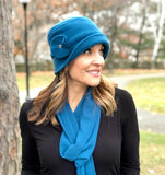 1920s style Womens fleece hat in teal Boston Millinery
