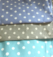 polka dot fabric for sunhat gray turquoise periw