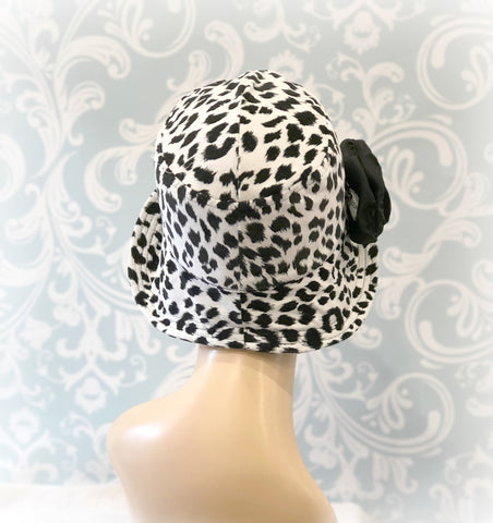 50f15382589c9 Leopard Print Cloche Hat - The Eleanor - Wide Brim – Boston Millinery