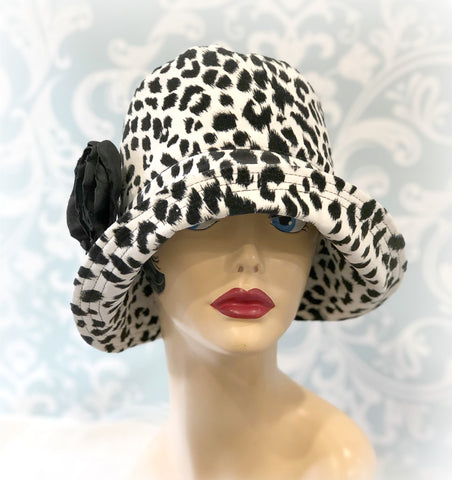 Leopard Print Cloche Hat - The Eleanor - Wide Brim