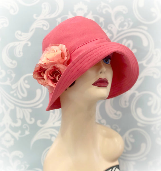 Flapper Style Linen Cloche Hat in Living Coral with Rose Accessory | The Eleanor
