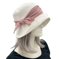 Women's 1920's Style Cloche Hat in Linen with Dusky Pink Hat Band |Spring Collection