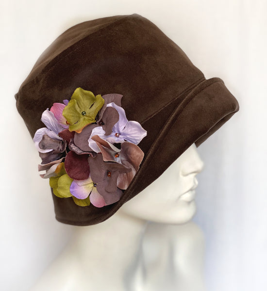 Brown Velvet Women's Hat with Hydrangea Brooch | The Eleanor Cloche