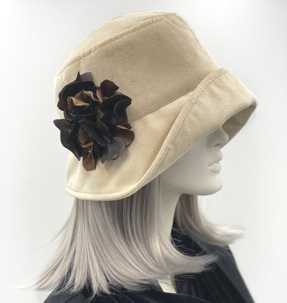 Cloche Hat in Cream Velvet with Hydrangeas | The Eleanor