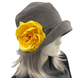 Gray velvet cloche hat Downton Abbey 1920s yellow flower brooch