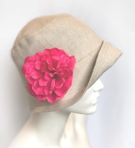 Garden Party Hat | The Eleanor Cloche in Linen with Removable Flower
