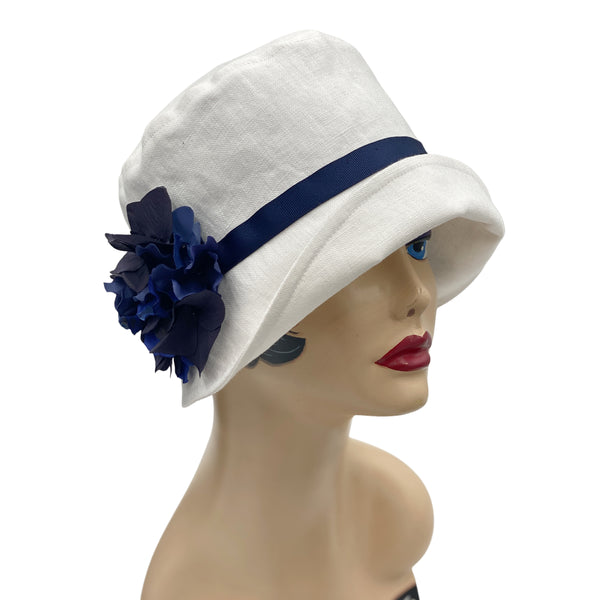 Eleanor narrow brim Navy Grosgrain ribbon and hydrangea brooch
