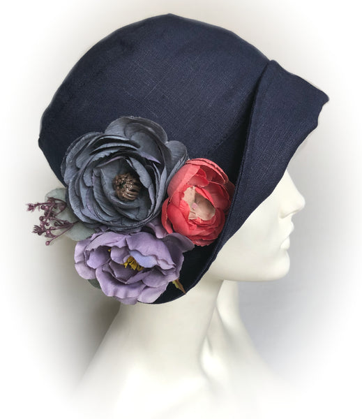 1920s Style Linen Cloche Hat in navy blue linen The Eleanor
