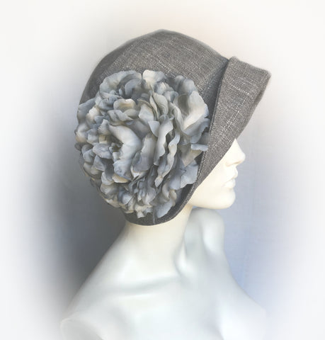 Gray Linen Cloche with Large Flower Accent | The Eleanor